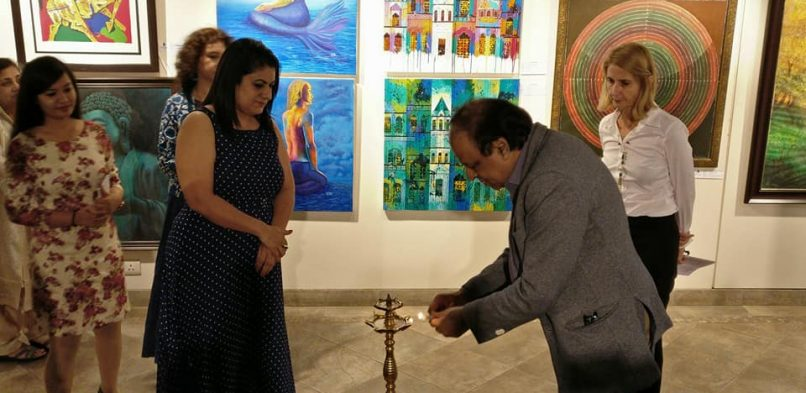 """#IBG President Mr. Vikash Mittersain as a Chief Guest at """"Amalgamation 4"""" – #exhibitions of #paintings at Cymroza art gallery,breach candy, Mumbai"""