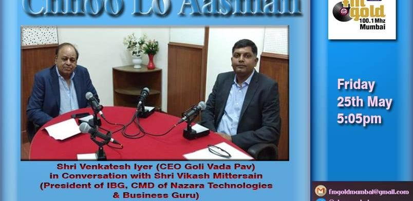 India Business Group May 25 ·  #IBG President Mr. Vikash Mittersain in conversation with Mr. Venkatesh Iyer, CEO, Goli Vada Pav on ALL India Radio