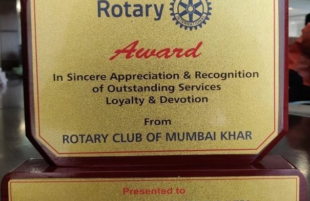 IBG President Mr. Vikash Mittersain awarded for appreciation & recognition of outstanding services Loyalty & Devotion by ROTARY CLUB OF MUMBAI Khar